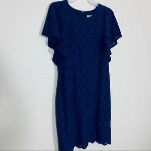 J Crew | Navy Blue Frill Sleeve Midi Dress